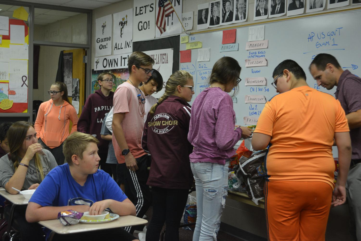 The freshman and seniors in the program plan food days. They both brought food for everyone in the advisement to eat.