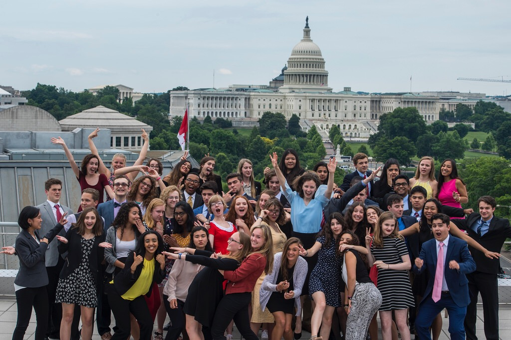 The Free Spirit Class of 2018 poses for the first silly photo of the trip. The students enjoyed the view from the roof of the Newseum on Pennsylvania Avenue after a brief graduation and recognition ceremony.