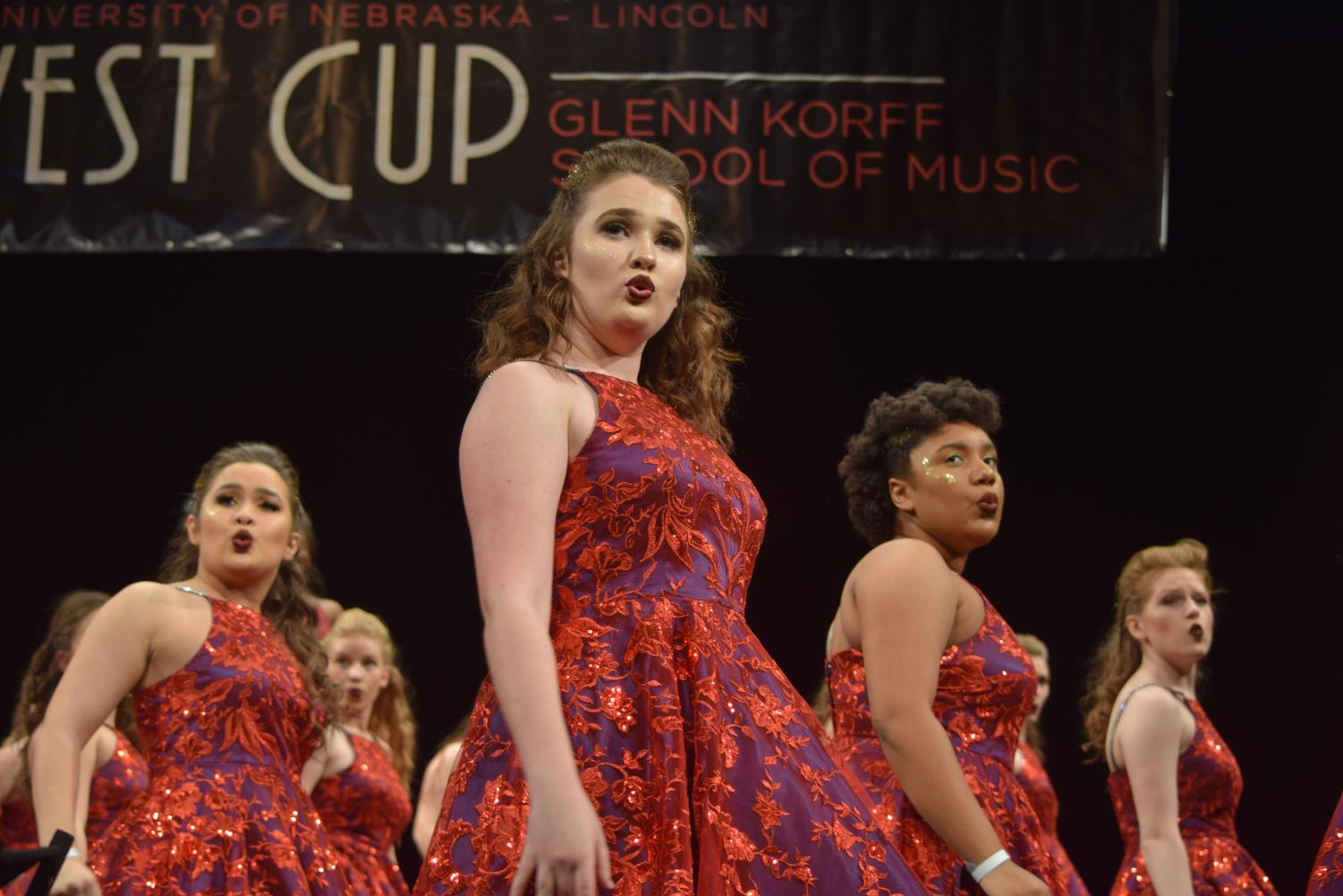 Mikayla Galgerud performs with Free Spirit at the UNL Midwest Cup on January 12th.
