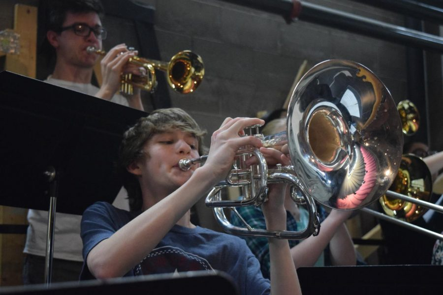 Caleb+Digiacomo+plays+the+mellophone+along+with+the+other+show+band+members+for+the+varsity+show+choir%2C+Free+Spirit.