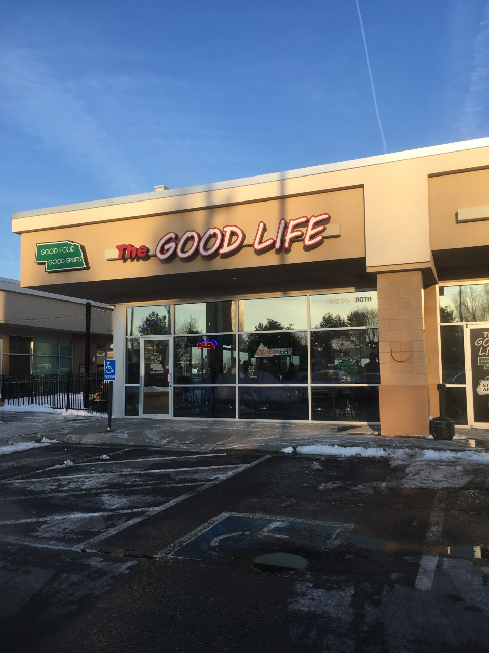 The Good Life is located in Omaha at 1203 S 108th St. It opens everyday from 11am to 2am.