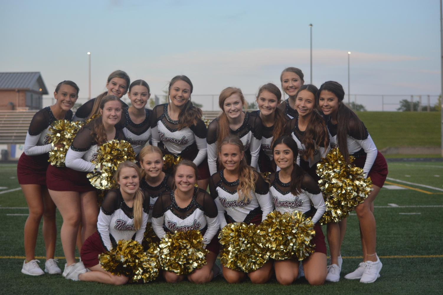 The Papillion La Vista Dance Team poses before the maroon and white scrimmage.