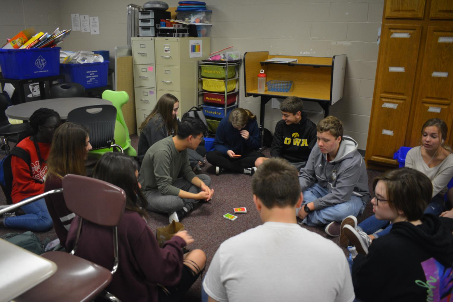 Members of Circle of Friends gather together to play games.