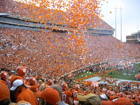 Balloon release as the Clemson Tigers run down to the field vs. North Carolina at Clemson's Memorial Stadium.