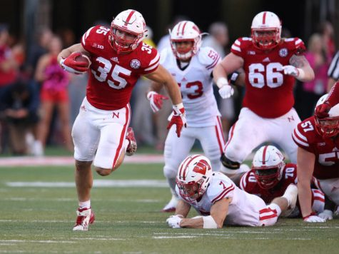 Andy Janovich rumbles his way to a 55 yard touchdown in a game back in 2015. Janovich finished his Husker career with 265 yards and three touchdowns.